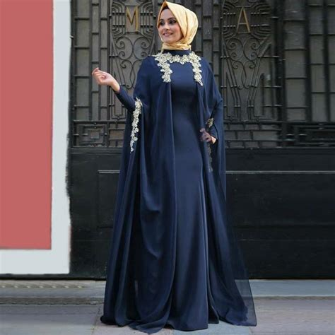 Dh 6592 Kaftan Blue 2018 newest royal blue chiffon sleeves arabic evening dresses fashion abaya in dubai muslim