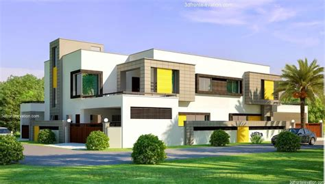 3d front elevation com beautiful contemporary house 3d front elevation com 1 kanal corner plot 2 house