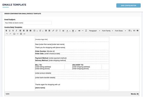 email template for sending invoice setup invoice and email template shopcada