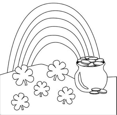 Rainbow And Pot Of Gold Coloring Pages pot of gold rainbow coloring pages