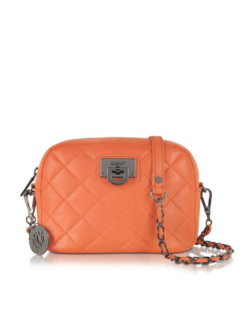 Dkny Quilted Nappa Leather Bag by Dkny Gansevoort Quilted Nappa Leather Bag In Orange