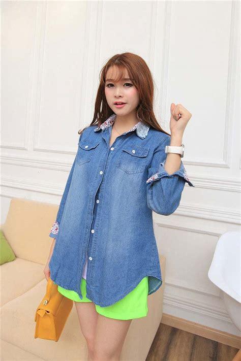 Celana Panjang Wanita Import Blue Retro Pattern Size L 210749 1 jual baju denim newhairstylesformen2014
