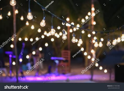 hanging lights for wedding hanging decorative lights for a wedding stock photo