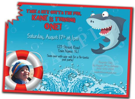 baby shark invitation shark bite 1st birthday invitation by kenziekanedesigns on