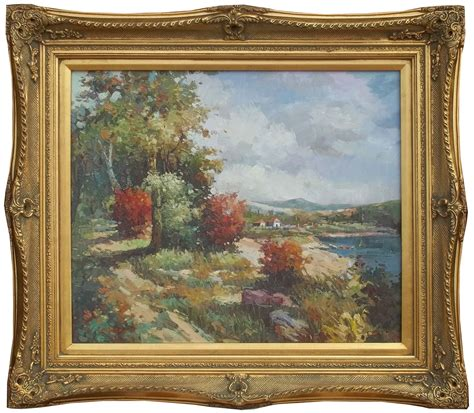 framed painting of countryside view landscape rural