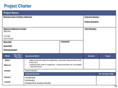 Best Project Charter Template Project Charter Template Ppt Best Project Charter Template