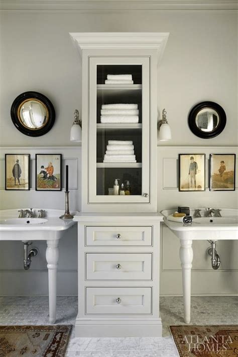 cabinet between bathroom sinks pedestal sinks with cabinet in between for