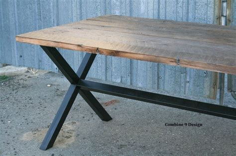 Dining Table Made From Reclaimed Wood Buy A Custom Made Vintage Industrial Dining Table Minimalist Modern Reclaimed Wood