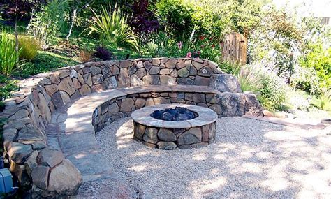 build pit on hill hillside firepit w bench i that the other side is bare so you can cozy up a chair