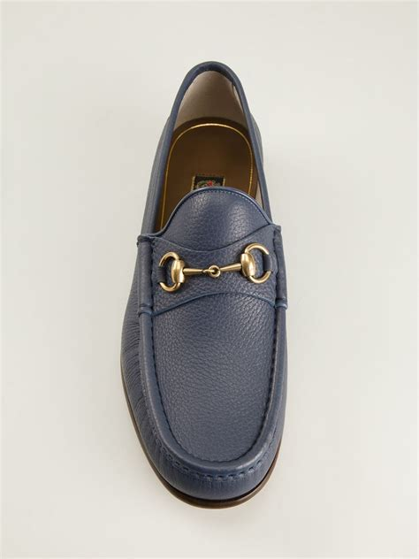gucci pebbled leather horsebit loafer lyst gucci bit loafers in blue for