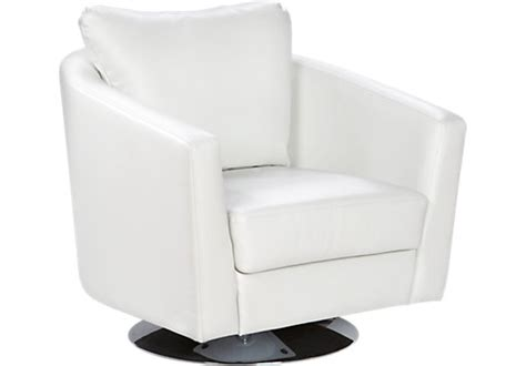 White Leather Swivel Chair by Rooms To Go Affordable Home Furniture Store
