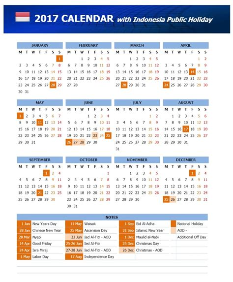 printable calendar 2017 indonesia days that you should avoid when you plan to visit