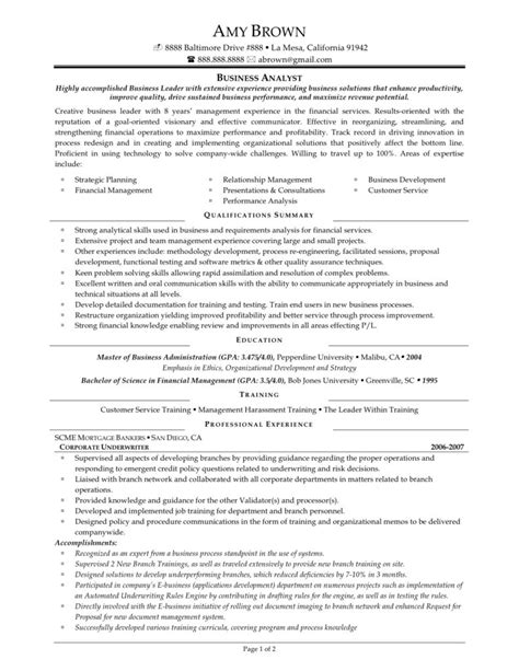 standard resume format for company resume format us resume sle for business analyst sle