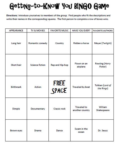getting to know you bingo game free printable back to