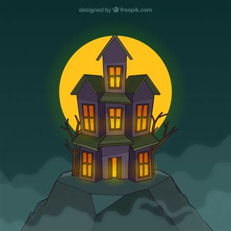 spooky house spooky house with full moon vector free download