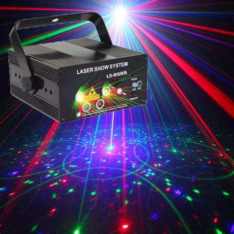 disco lights that react to music red green blue stage light projector disco party music