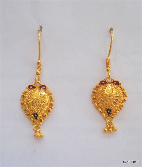 Handmade Gold Jewellery - 20k gold earrings handmade jewelry traditional design ert