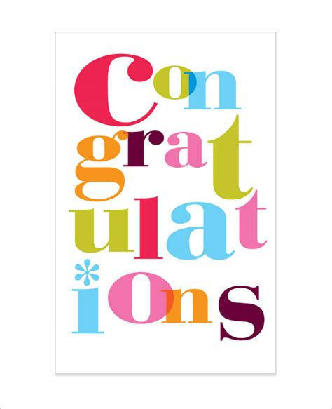 congratulations card template 24 free sle exle