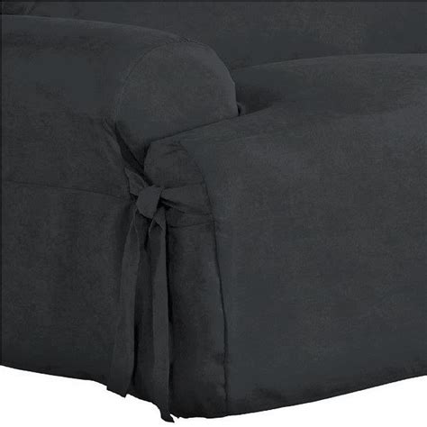 Black T Cushion Sofa Slipcover by Dual Reclining Sofa Slipcover T Cushion Suede Black Sure