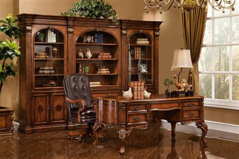 executive desk antique walnut w gold accent finish 14748