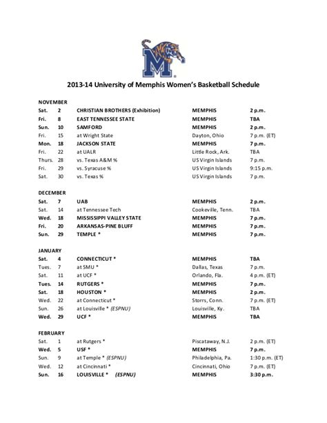 2013 14 of s basketball schedule