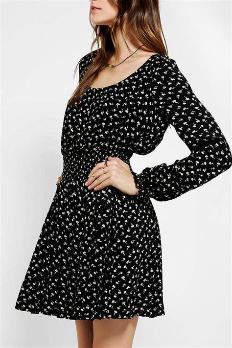 Black Lussile Katun Mini Dress lyst outfitters smocked waist mini dress in black