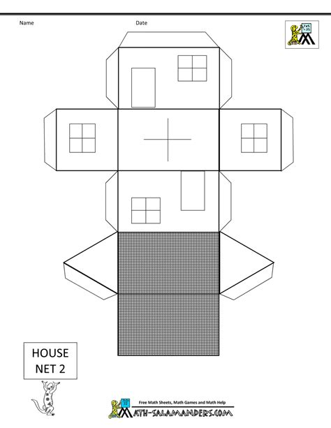printable house template for paper models for nets
