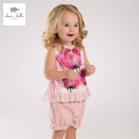 Kb Set Baby Pink db3452 dave summer baby flower printed clothing sets child pink ruffle set infant