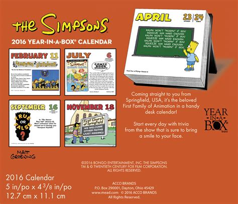 Page A Day Calendars The Simpsons Page A Day Calendar 2016 Tv Shows