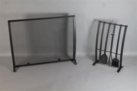 modernist black iron fireplace screen and tool sety modern