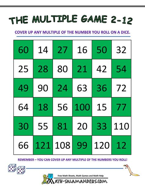 printable math games using dice math games using dice the multiple game 2 to 12 gif 1 000