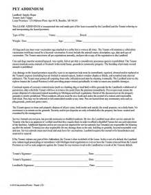 pet addendum ez landlord forms