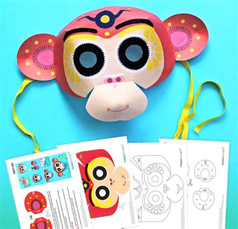 new year 2016 monkey masks mini pi 241 ata templates easy and printable crafts for