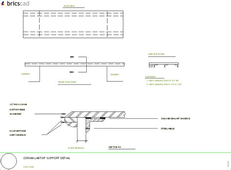 Corian Details How To Support Large Spans In Corian 174 Worktops Aia Cad
