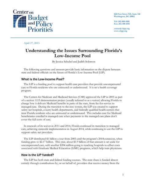 Letter Explanation Low Income Understanding The Issues Surrounding Florida S Low Income Pool Center On Budget And Policy