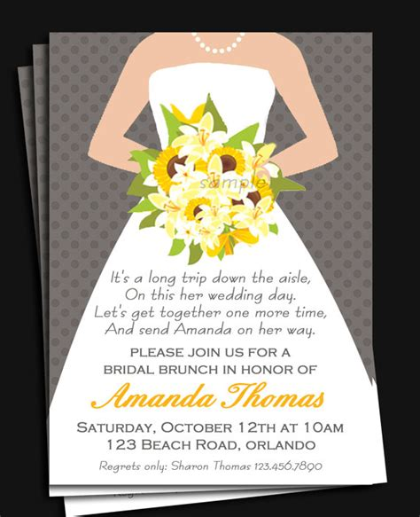 invitations for bridal shower luncheon bridal gown invitation printable or printed with free
