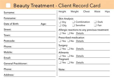 hairdressing client record card template makeup client card treatment consultation card