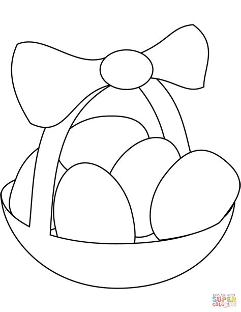 coloring eggs easter basket with eggs coloring page free printable