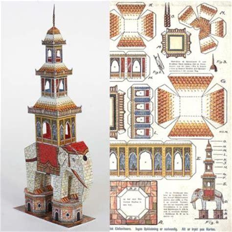 Papercraft Elephant - vintage papercraft elephant pagoda