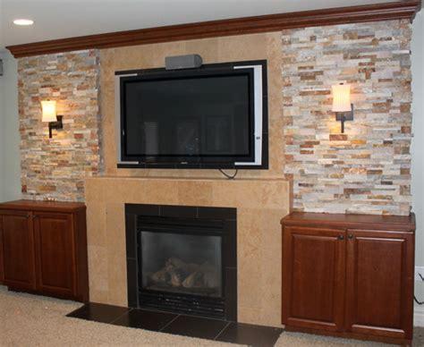 Flat Screen Above Fireplace by Flat Screen Tv Above Fireplace Basement