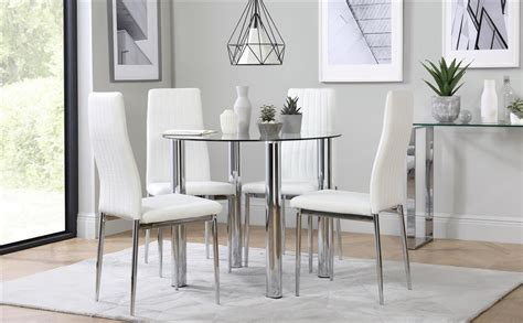 Glass And Chrome Dining Table And Chairs Solar Chrome And Glass Dining Table With 4 White Chairs Only 163 249 99 Furniture Choice