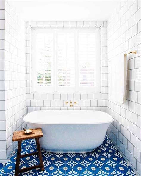 white and blue tiles in bathroom 25 bold flooring ideas that make your spaces stand out