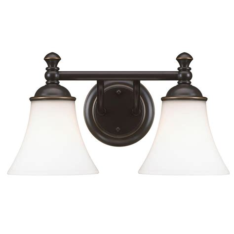 hton bay crawley 2 light rubbed bronze vanity light