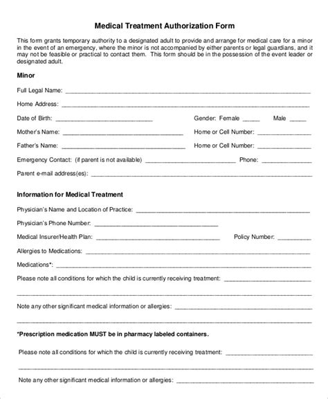 printable medical authorization form 9 free word pdf