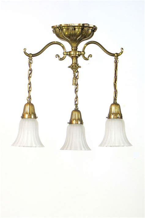 Appleton Lighting Fixtures Early Electric Three Light Appleton Lighting Fixtures