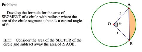 area of a section of a circle formula area of a segment of a circle