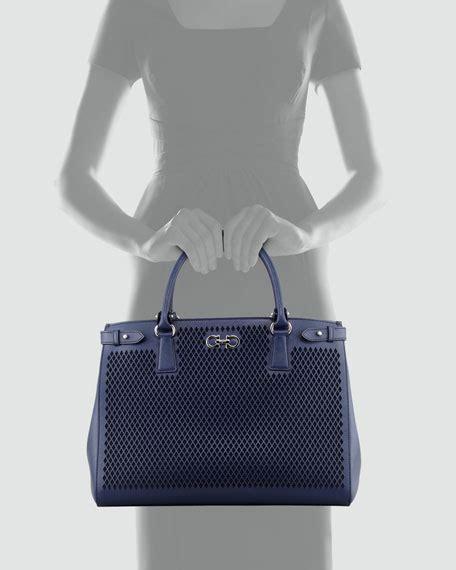 Batik Oxford Blue salvatore ferragamo batik laser cut tote bag oxford blue