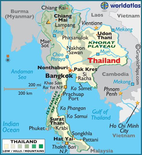 printable map thailand thailand large color map