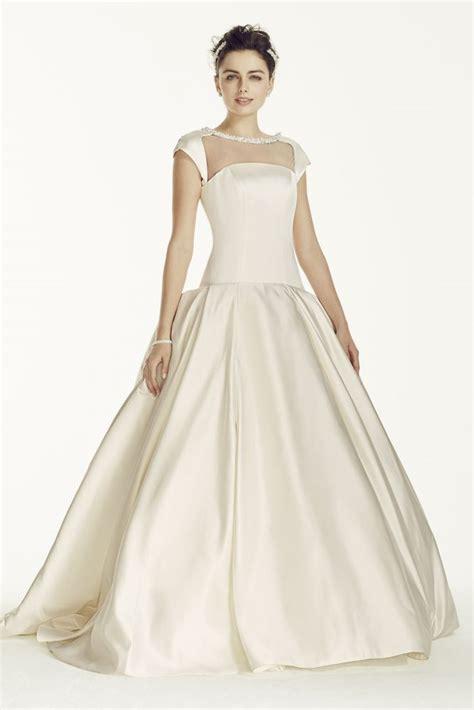 beaded cap sleeve wedding dress oleg cassini satin cap sleeve beaded wedding dress style