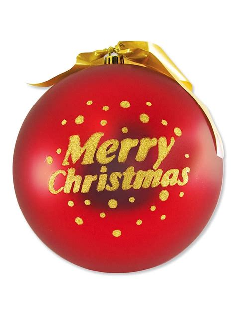 large red bauble decoration with gold merry christmas